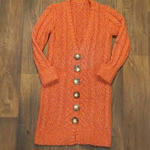 Anthropologie one girl who burnt orange sweater